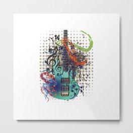 Grunge Guitar with floral Metal Print