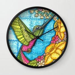 Hummingbird Quilt Square Wall Clock
