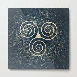 Triskelion Golden Three Spiral Celtic Symbol Metal Print