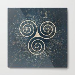 Triskelion Golden Three Spiral Celtic Symbol Metal Print