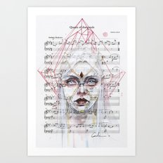 Queen of Diamonds on sheet music Art Print