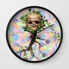 skull Doodle Print Wall Clock