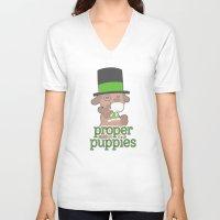 puppies V-neck T-shirts featuring Proper Puppies by Jillian Story (TalaSeba)