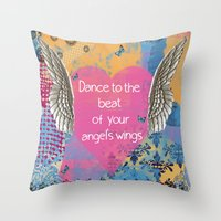 angel wings Throw Pillows featuring Angel Wings by Brooke LeAnne