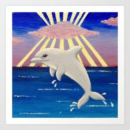 Dolphin at Sunset Art Print