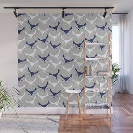 Cat alert // grey linen texture background Wall Mural