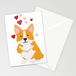 Corgi with Valentine Hearts   Cute Dog  Stationery Cards
