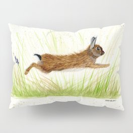 Leaping Rabbit - animal watercolor painting Pillow Sham