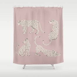 LEOPARD BLOCK PARTY - PINK Shower Curtain