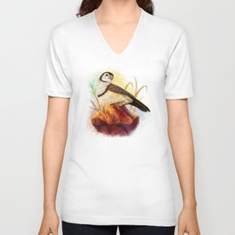 Owl finches realistic painting Unisex V-Neck