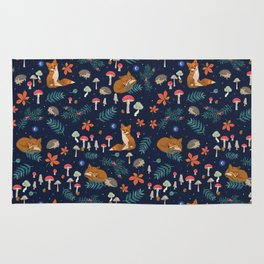 Fox and Hedgehog in Toadstool Woods In Blue Rug