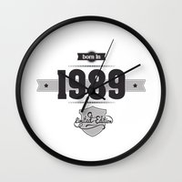 1989 Wall Clocks featuring Born in 1989 by ipiapacs