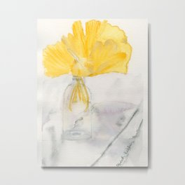 Ginkgo and Marble Metal Print