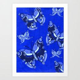 Blue Folk Butterflies Art Print