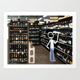 Corky @ the Supermarket Art Print