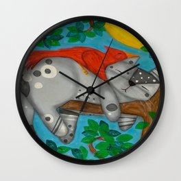 Gray Tabby Cat and Red Cardinal Bird Napping in a Tree whimsical folk art Wall Clock