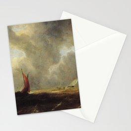 Jacob van Ruisdael - Sailing Vessels in a Choppy Sea Stationery Cards