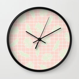 Graphic Tropical Leaves on Grid Pink and Mint Green Wall Clock