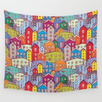 sketch Wall Tapestries featuring Cityscape Sketch by EkaterinaP