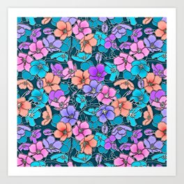 Modern abstract teal coral pink navy blue floral Art Print