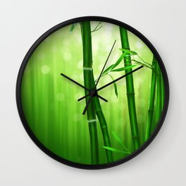 Bamboo Stalks with a Green Bokeh Background Wall Clock