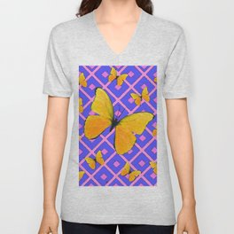 Decorative  Yellow Butterflies on Lilac & Pink Unisex V-Neck