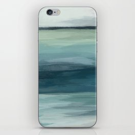 Seafoam Green Mint Navy Blue Abstract Ocean Art Painting iPhone Skin