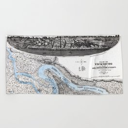 Vicksburg - Fortifications map - Mississippi - 1863 Beach Towel