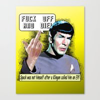 spock Canvas Prints featuring Spock.... by PsychoBudgie