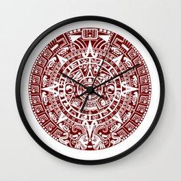 Mayan Calendar // Burgundy Wall Clock