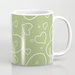 Hand Drawn Hearts Pattern Spring Green and White Coffee Mug