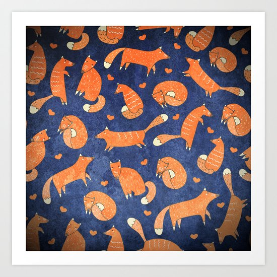 Foxes at Night - Cute Fox Pattern Art Print