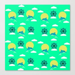 Dolphins play Canvas Print