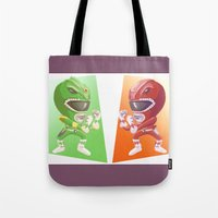 power rangers Tote Bags featuring Mighty Fightin' Power Rangers by garciarts