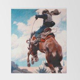 """Vintage Western Painting """"Bucking"""" by N C Wyeth Throw Blanket"""