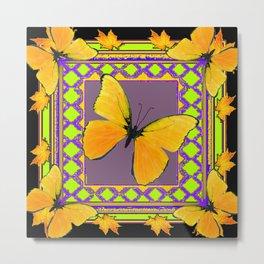 Decorative Black & Lime & Golden Butterfly Art Metal Print