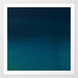Hand painted navy blue green watercolor ombre brushstrokes Art Print