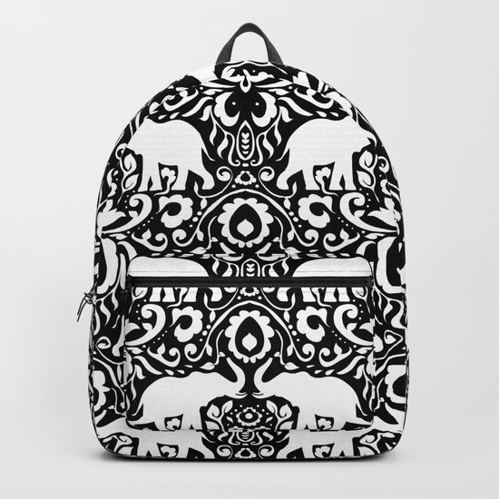 Elephant Damask Black and White Backpack