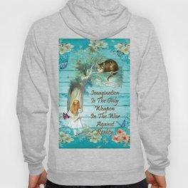 Floral Alice In Wonderland Quote - Imagination Hoody