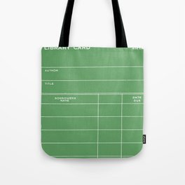 Library Card BSS 28 Negative Green Tote Bag