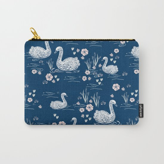 Swans painting cute girly trend cell phone case with swans pattern florals hand painted blue Carry-All Pouch