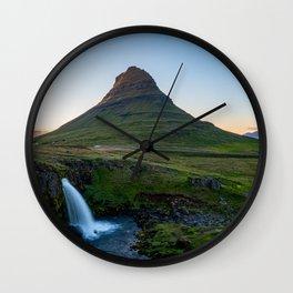 Kirkjufell mountain and waterfall in Iceland Wall Clock