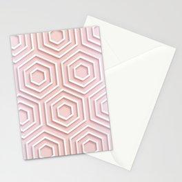 3D Hexagon Gradient Minimal Minimalist Geometric Pastel Soft Graphic Rose Gold Pink Stationery Cards