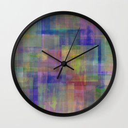 Modern Abstract No. 18   Rainbow Connection Wall Clock