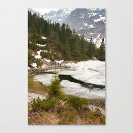 Tourists trek around Morskie Oko Lake Canvas Print