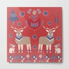 Scandinavian Winter Pattern Red #society6 #buyart Metal Print