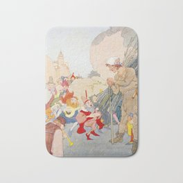 Dwarves and Elves Dancing and Singing in the Street Bath Mat