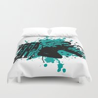 rock and roll Duvet Covers featuring Rock & Roll by Chamber Decals