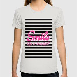 Smile, Life is beautiful, black stripes, inspiration quote T-shirt
