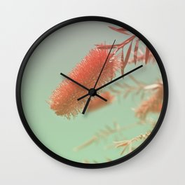 Red Fluffy Plant Wall Clock